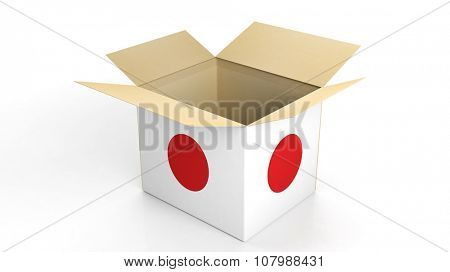 Carton box with Japan national flag, isolated on white background.