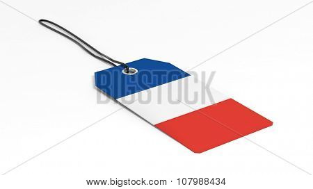 Made in France price tag with national flag, isolated on white background.