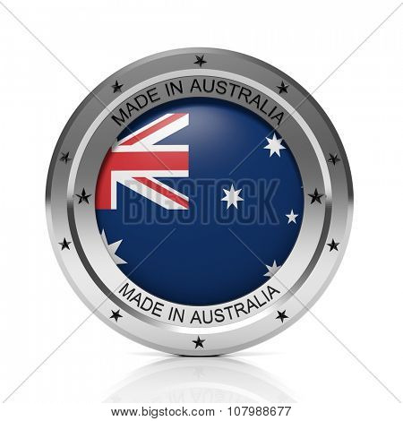 Made in Australia round badge with national flag, isolated on white background.