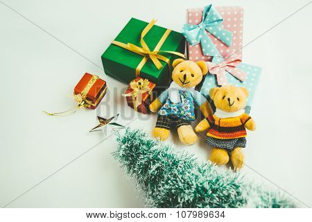 Merry Christmas, a couple Lovely bear are waiting santa claus with christmas decoration.