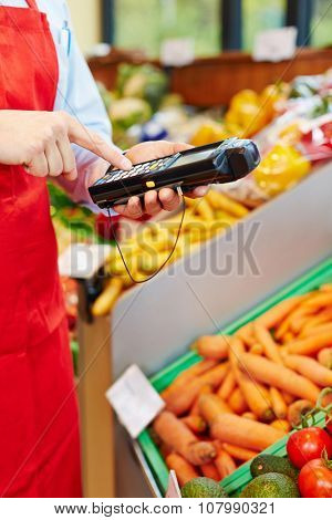 Finger typing on mobile data registration terminal in a supermarket