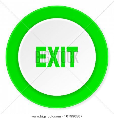 exit green fresh circle 3d modern flat design icon on white background