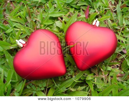 Closeup Of Two Separated Hearts