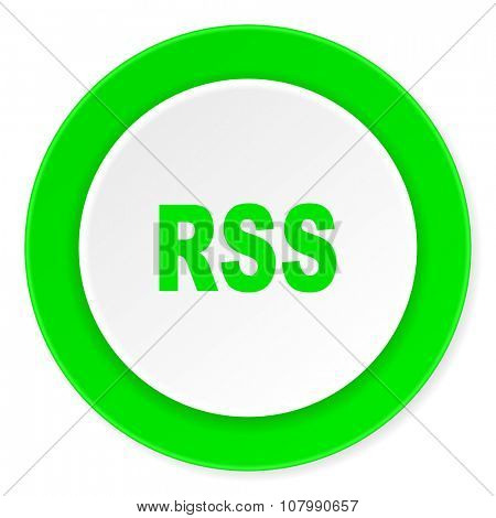 rss green fresh circle 3d modern flat design icon on white background