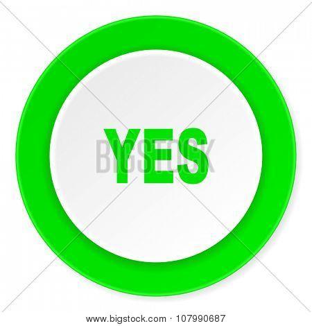 yes green fresh circle 3d modern flat design icon on white background