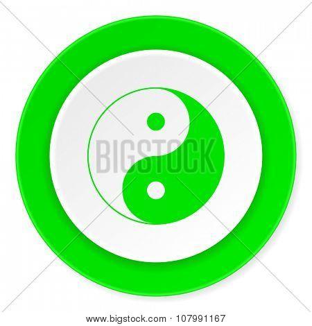 ying yang green fresh circle 3d modern flat design icon on white background