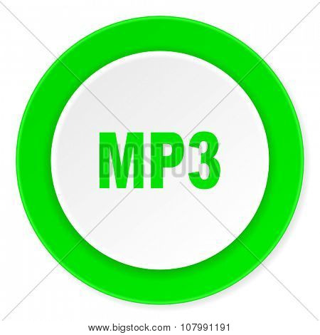 mp3 green fresh circle 3d modern flat design icon on white background