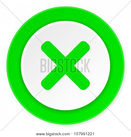 cancel green fresh circle 3d modern flat design icon on white background