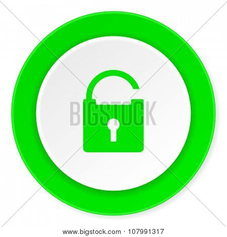 padlock green fresh circle 3d modern flat design icon on white background