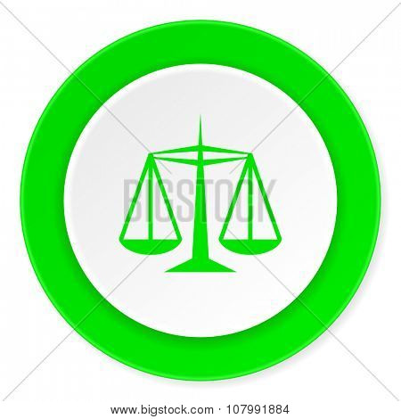 justice green fresh circle 3d modern flat design icon on white background
