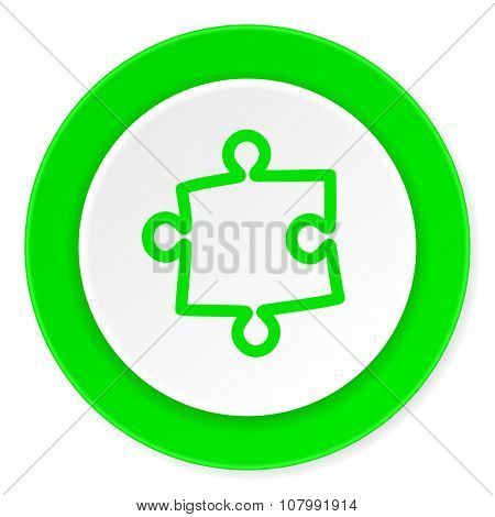 puzzle green fresh circle 3d modern flat design icon on white background