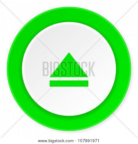eject green fresh circle 3d modern flat design icon on white background