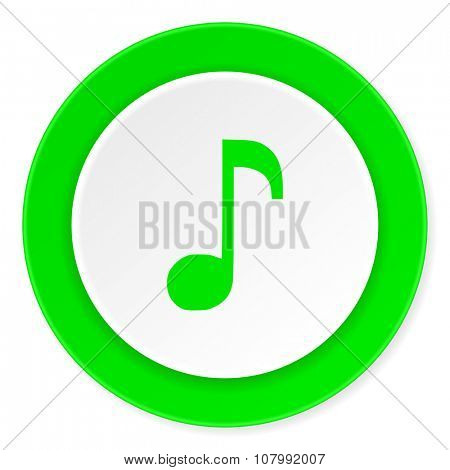 music green fresh circle 3d modern flat design icon on white background