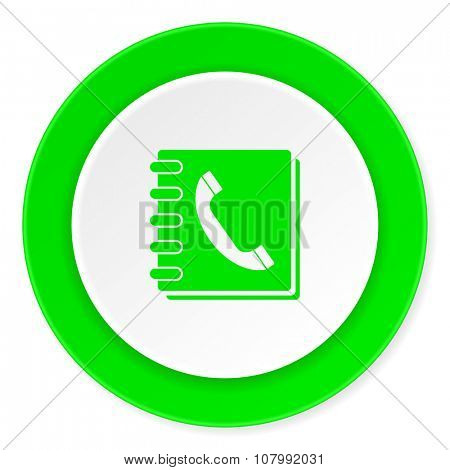 phonebook green fresh circle 3d modern flat design icon on white background