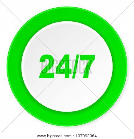 24/7 green fresh circle 3d modern flat design icon on white background
