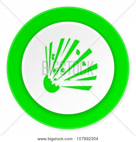 bomb green fresh circle 3d modern flat design icon on white background