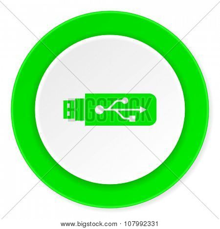 usb green fresh circle 3d modern flat design icon on white background