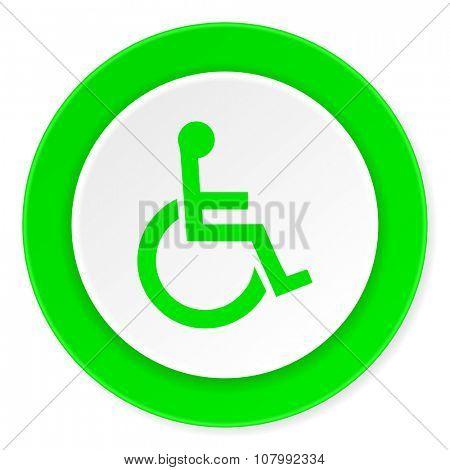 wheelchair green fresh circle 3d modern flat design icon on white background