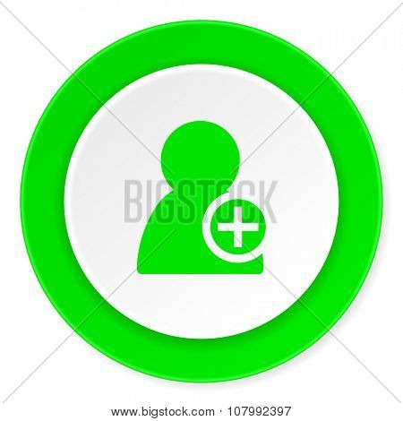 add contact green fresh circle 3d modern flat design icon on white background
