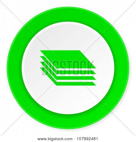 layers green fresh circle 3d modern flat design icon on white background
