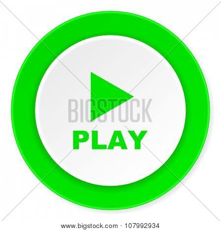 play green fresh circle 3d modern flat design icon on white background