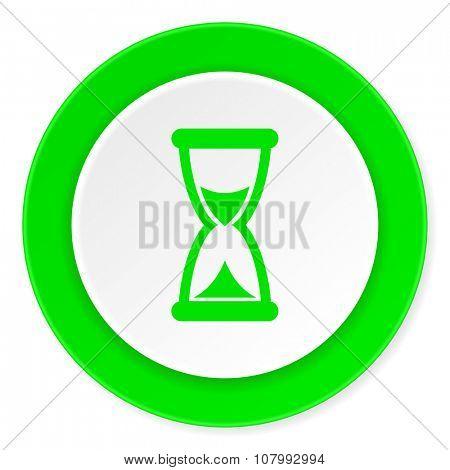 time green fresh circle 3d modern flat design icon on white background