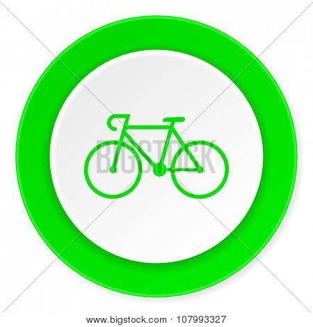 bicycle green fresh circle 3d modern flat design icon on white background
