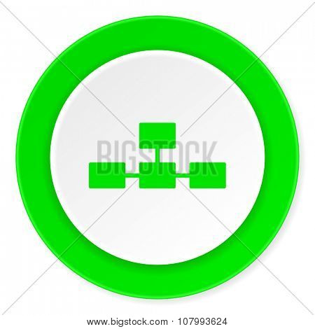 database green fresh circle 3d modern flat design icon on white background