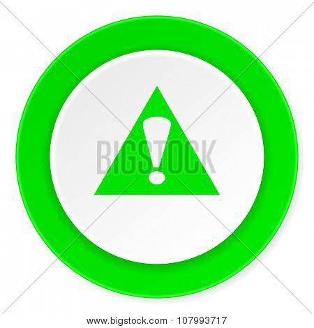 exclamation sign green fresh circle 3d modern flat design icon on white background