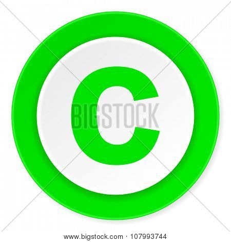 copyright green fresh circle 3d modern flat design icon on white background