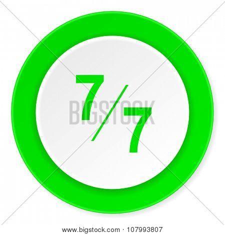 7 per 7 green fresh circle 3d modern flat design icon on white background