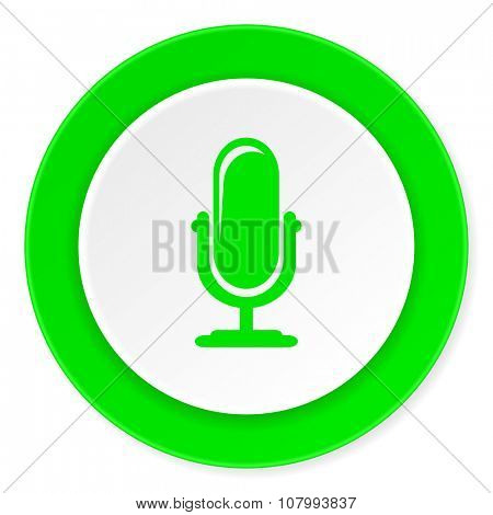 microphone green fresh circle 3d modern flat design icon on white background