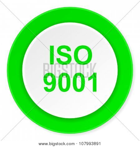 iso 9001 green fresh circle 3d modern flat design icon on white background