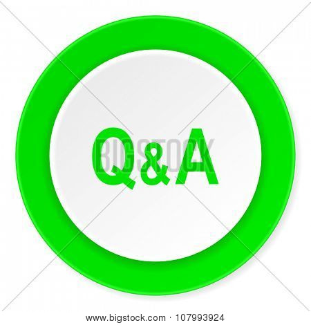 question answer green fresh circle 3d modern flat design icon on white background