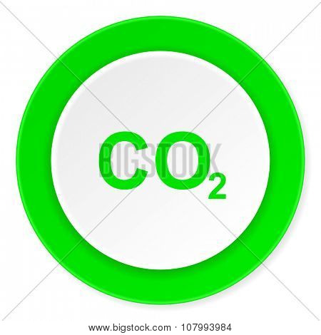 carbon dioxide green fresh circle 3d modern flat design icon on white background