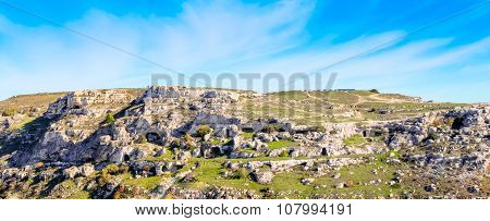 Rupestrian Church. Sassi Of Matera. Basilicata Under Blue Sky