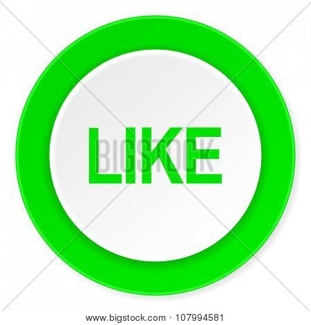 like green fresh circle 3d modern flat design icon on white background