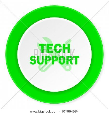 technical support green fresh circle 3d modern flat design icon on white background