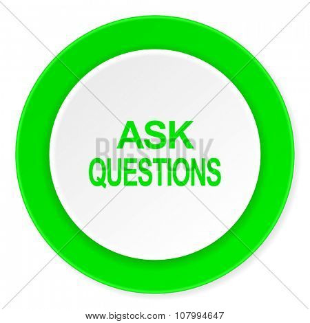 ask questions green fresh circle 3d modern flat design icon on white background