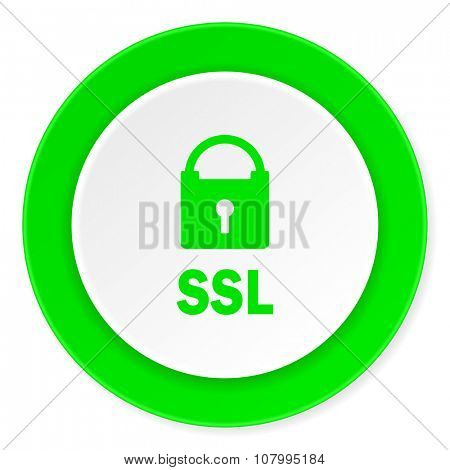 ssl green fresh circle 3d modern flat design icon on white background