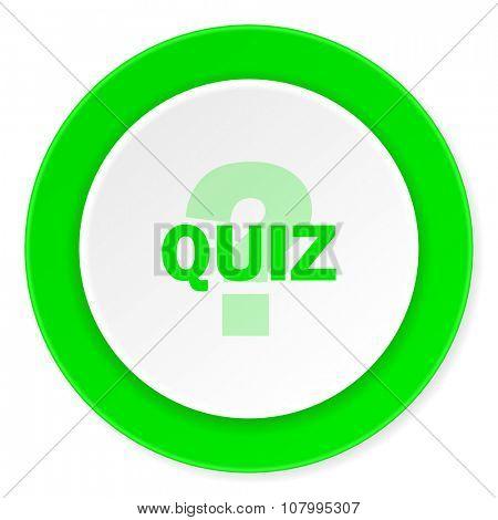 quiz green fresh circle 3d modern flat design icon on white background