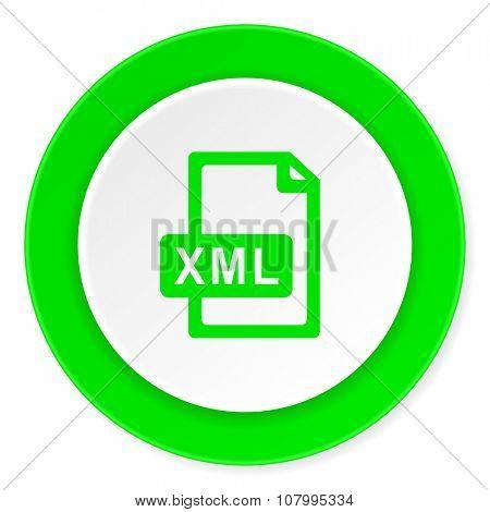 xml file green fresh circle 3d modern flat design icon on white background