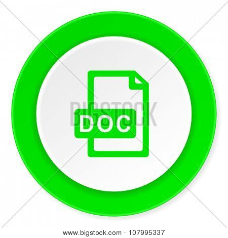 doc file green fresh circle 3d modern flat design icon on white background