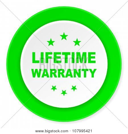 lifetime warranty green fresh circle 3d modern flat design icon on white background