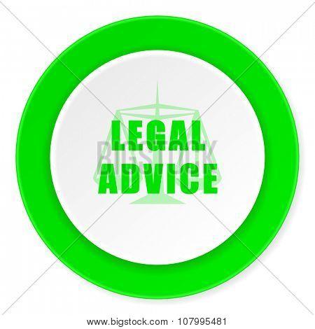 legal advice green fresh circle 3d modern flat design icon on white background