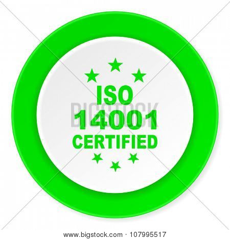 iso 14001 green fresh circle 3d modern flat design icon on white background