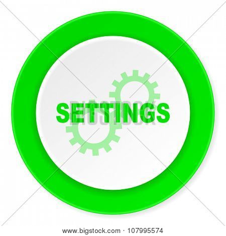 settings green fresh circle 3d modern flat design icon on white background