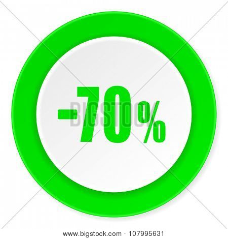 70 percent sale retail green fresh circle 3d modern flat design icon on white background