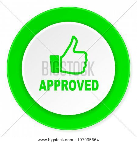 approved green fresh circle 3d modern flat design icon on white background