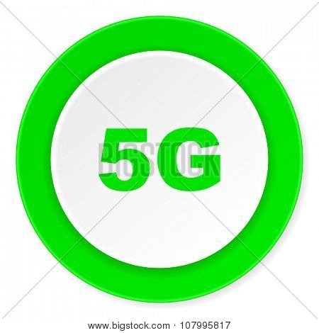 5g green fresh circle 3d modern flat design icon on white background